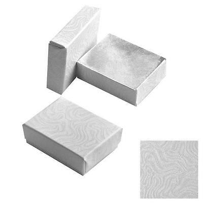 Wholesale 50 Small White Swirl Cotton Fill Jewelry Gift Boxes 17/8