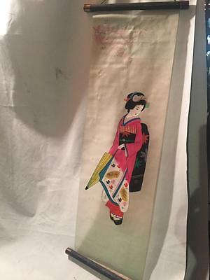 Antique Vintage Japanese Hand Painted Hanging Scroll Geisha Lady painted on Silk
