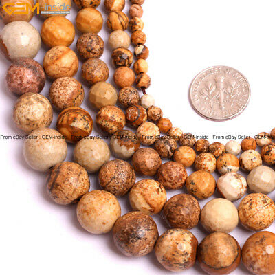 """Natural Stone Genuine Picture Jasper Stone Beads For Jewelry Making 15"""" Faceted"""
