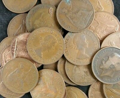 British Old Pennies Job Lot 20 Old Penny Coins From 1896 To 1967 1d Coppers
