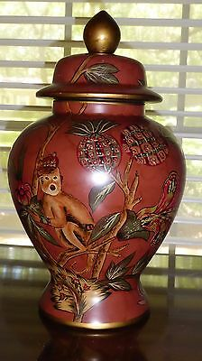 Large painted Urn/Jar - Burnt rust w/green and gold with monkey design