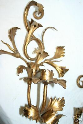 Pair Old Gilt Wrought Iron 1 Light Candle Holders