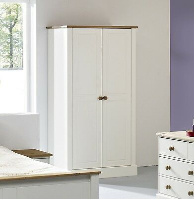 Balmoral Waxed Solid Pine and White Large 2 Door Double Wardrobe - RRP £299.99