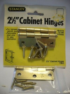 3 Vintage NOS Satin Brass Plated Steel Cabinet Door Hinges Flush Mount Stanley