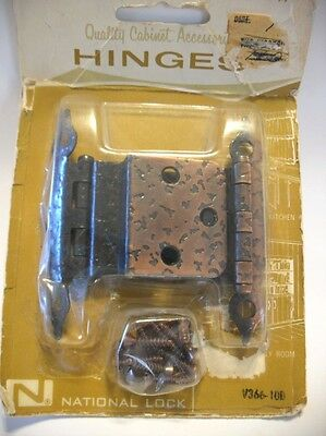 "Vintage NOS Hammered Copper Plated Steel Cabinet HINGES 3/8"" Inset National Lock"