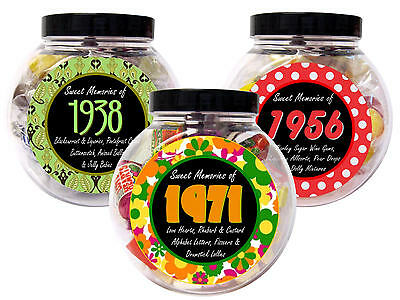 BIRTHDAY GIFT RETRO SWEET JAR 1930s 1940s 1950s 1960s 1970s 1980s 1990s 2000s