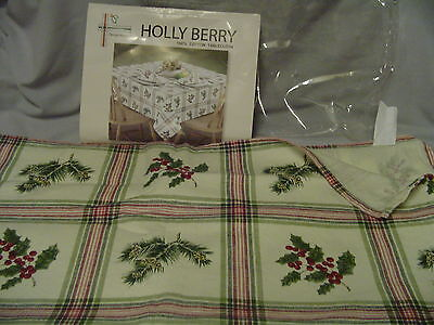 "Christmas Tablecloth Cotton Holly Berry & Pine Cones Design Weave 52""x52"""