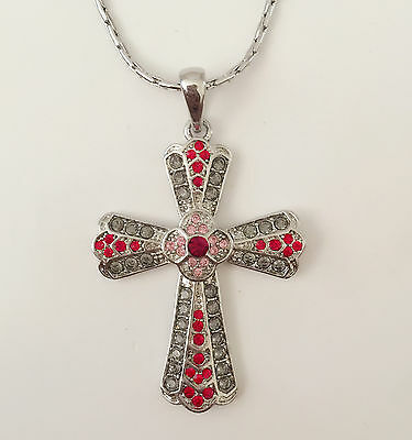 New Fushia Pink Crystal Holly Cross Charm Chain Good Fortune Necklace NE01451