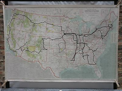HUGE Antique C. 1910 National Survey RARE US United States Railroad ? CANVAS Map