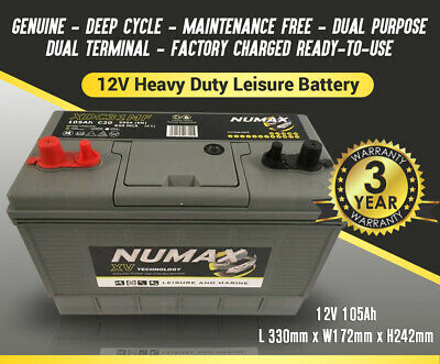12V 110AH Deep Cycle Battery Numax XV31MF Leisure Caravan Marine Boat 500 Cycles