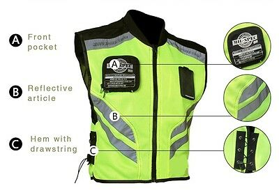 Adventure Touring Motorcycle Safety Vest Reflector Summer Riding Gear Men's L XL