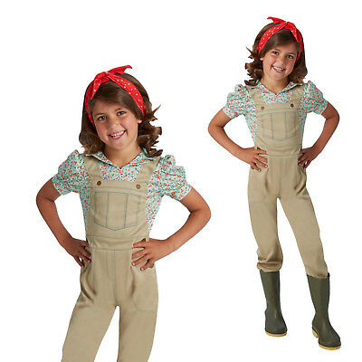 Rubies Girls WW2 Land Army Original Outfit Childs Book Week Fancy Dress Costume
