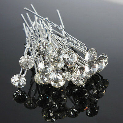20X Sliver Wedding Party Bridal Crystals Rhinestones Diamante Hair Clips Hairpin