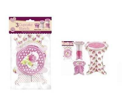 ** Queen Of Cakes 3 X Cupcake Stands Cardboard Pink New ** Various Sizes