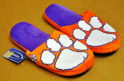 Pair of Clemson Tigers Big Logo Slippers NEW NCAA - TWO TONED House shoes BLG