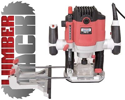 Lumberjack PR12 Heavy Duty 1/2 inch Electric Plunge Router with Variable Spee...