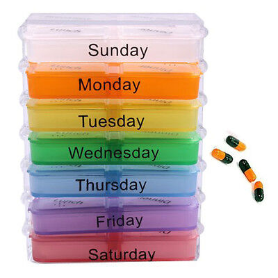 7 Day Tablet Pill Boxes Storage Organizer Container Case SP
