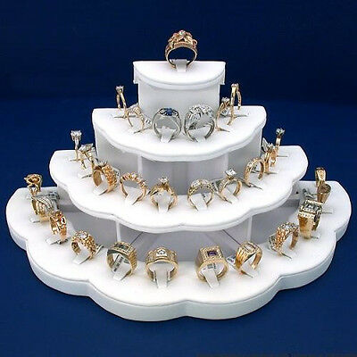 New 29 Ring Display White Leather Jewelry Stand Holds 29 Rings