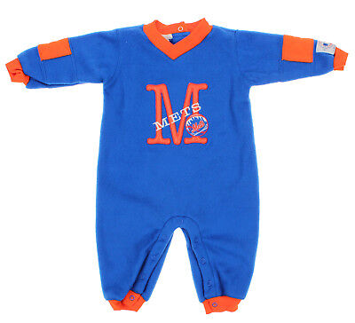 MLB Infant New York Mets Polar Fleece Coverall, Royal-Orange