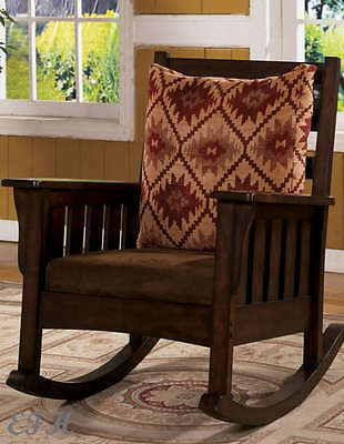 New Morrisville Mission Style Dark Oak Finish Wood Accent Rocking Chair