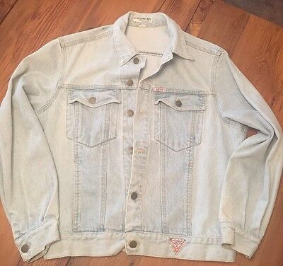VINTAGE Guess Jean Jacket Sz Medium Light Blue Denim Georges Marciano USA