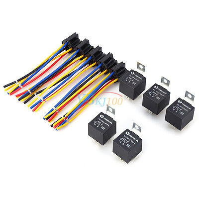 5X 12V 12 Volt DC 40A AMP Relay & Socket SPDT 5Pin 5 Wire For Car Auto Truck