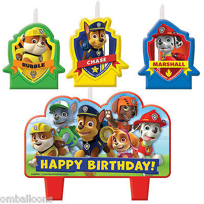 Paw Patrol Candle Set Of 4 Birthday Party Supplies