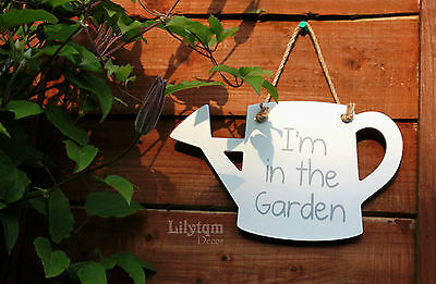 I'M IN THE GARDEN Hanging Sign Wood Plaque Decoration Summer