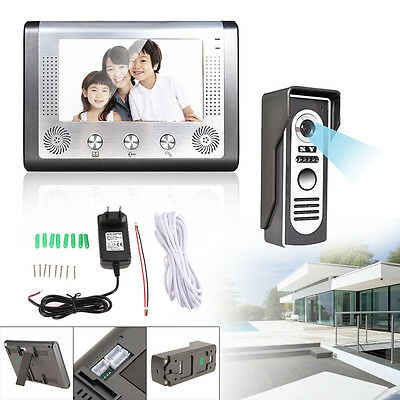 7'' LCD Wired Video Doorphone Doorbell Intercom IR Camera Monitor Home Security