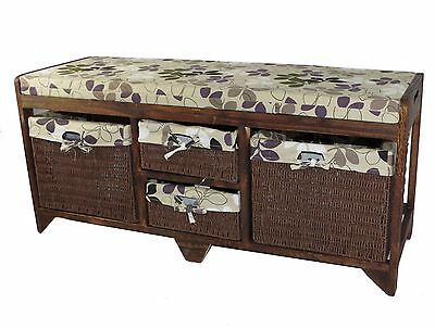 Aston Wooden Storage Bench Unit Furniture 2 Large Seagrass Baskets Seat Cushion