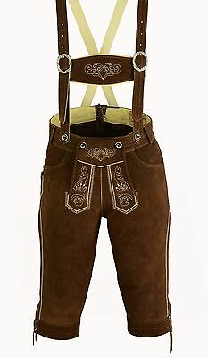 Men's Traditional Garb Bavarian Leather Pants Lederhosen Strap Dark Brown 46-62