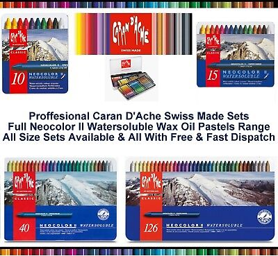 Caran Dache Neocolor II Watersoluble Wax Oil Crayons Pastels Artist Sketch Sets
