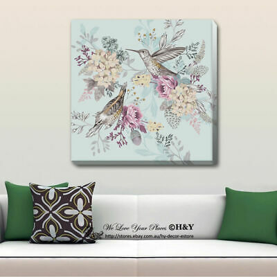 Birds Flowers Stretched Canvas Print Framed Wall Art Home Kids Office Decor Gift