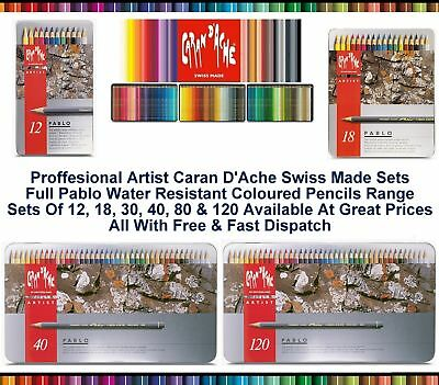 Caran Dache Pablo Colour Pencils Water Resistant Artist Sketching Metal Tin Sets