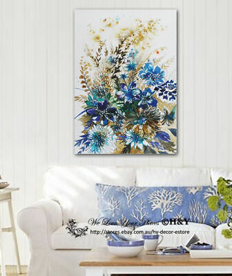 Blue Flowers Abstract Stretched Canvas Print Framed Wall Art Home Office Decor