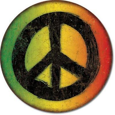 """Peace Sign Symbol Retro 70's Style Weathered Round Tin Metal Sign 11.5"""" NEW"""
