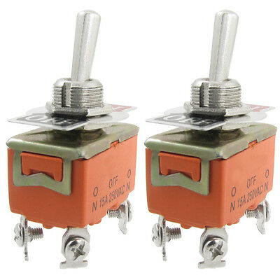 New 2 Pcs Metal Resin AC 250V 15A Amps On/Off 2 Position Dpst Toggle Switch SP