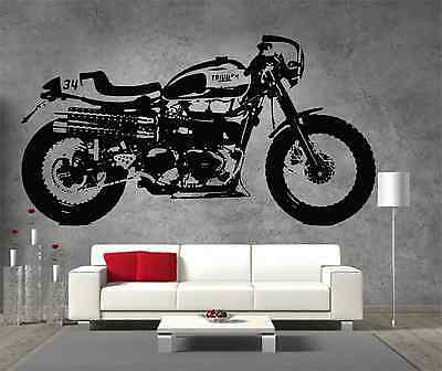 Triumph Thruxton Cafe Racer Vinyl Sticker Wall Art Boys Bedroom Garage