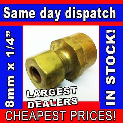 "8mm x 1/4"" FI Female Iron BSP Thread Straight Compression Coupler Coupling Brass"