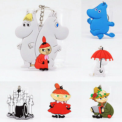 New Double Sided Moomin Valley Muumi Soft Rubber Keychain Keyring