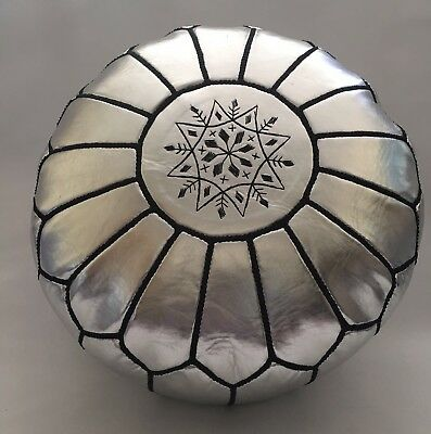 100% Moroccan Handmade Faux Leather Pouffe silver with Black embroidery