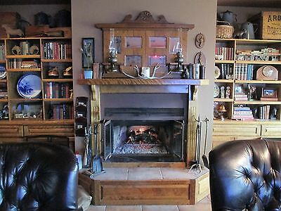 Antique Golden Oak Fireplace Over Mantle w/ 6 Beveled Mirrors & 2 Kerosene Lamps