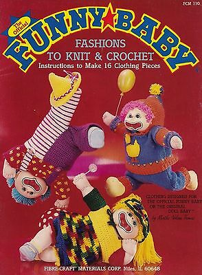 Funny Baby, Fibre Craft Crochet & Knitting Doll Clothes Pattern Booklet FCM110