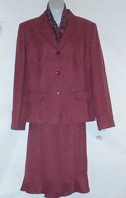 Collections for Le Suit Ladies Two (2) Piece Skirt Suit + Scarf Deep Rose 16 NWT
