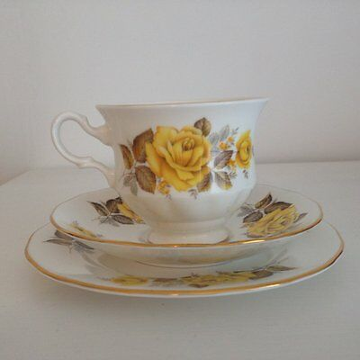 Vintage Queen Anne Yellow Floral Made in England Trio ~ High Tea