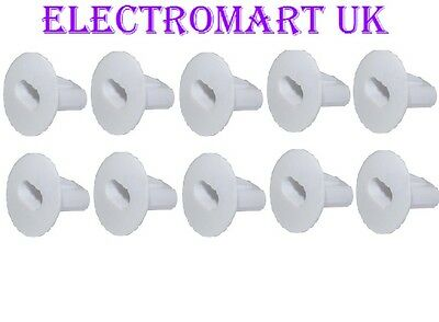 10 X Double Twin Grommets Tv Coax Cable Tidy Wall Bushes Entry Exit White
