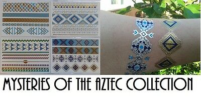 4 x Aztec Jewellery inspired flash temporary tattoo body art necklace Christmas
