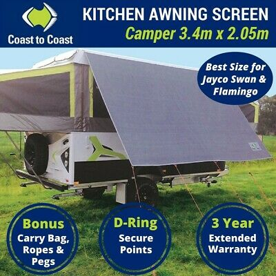 Coast 3.4m Kitchen Awning Sunscreen for Jayco Swan or Flamingo Camper Trailer