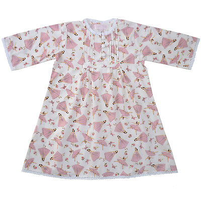 100% Cotton Longsleeve Nightdress - Ballerina - Powell Craft - Ages 4-9