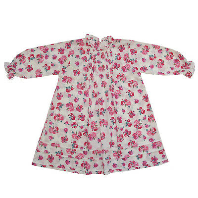 100% Cotton Longsleeve Nightdress - Rosa - Roses - Powell Craft - Ages 2-12